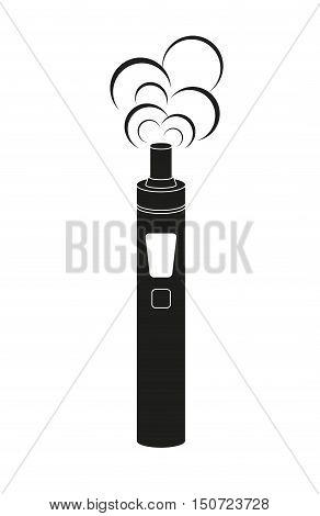 Vector illustration of Electronic cigarette in black color. Vaporizer e-cigarette device. Vector illustration.