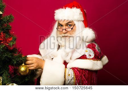 Santa claus man in eyeglasses with white beard in new year red suit decorates Christmas tree