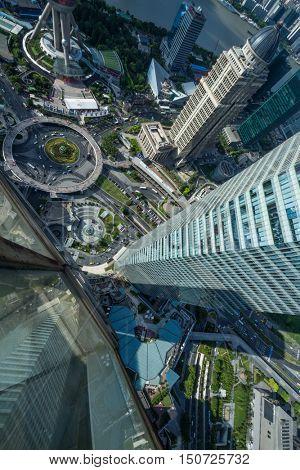 SHANGHAI - AUG 13, 2015: Top view of Shanghai IFC hotel, It incorporates two tower blocks at 249.9 metres (south tower) and 259.9 metres (north tower)