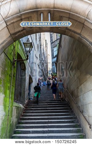 Fleshmarket Close In The Old Town Of Edinburgh