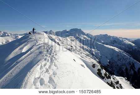 A Woman Climber Arrives at the Summit of Mt Bealey with Avalanche Peak and Mt Rolleston Beyond.  Arthurs Pass, Southern Alps, Canterbury, New Zealand.
