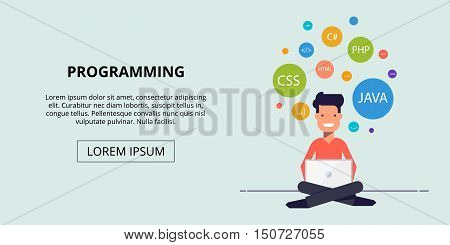 Banner for the site study programming. Happy young man sitting with a laptop. The icons in the colored circles. Vector illustration in a flat style