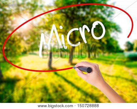 Woman Hand Writing Micro With A Marker Over Transparent Board