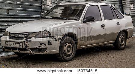 Kazakhstan, Ust-Kamenogorsk, october 5, 2016: Daewoo Nexia, old car, old korean car in the street, battered, sedan