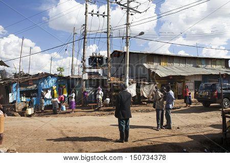 KIBERA-KENYA-NOVEMBER6, 2015: Kibera slum near Nairobi with unidentified people on the street. Largest urban slum in Africa. Eastern Africa region