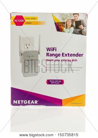 Winneconne WI - 7 October 2016: Package of a Netgear range extender on an isolated background.