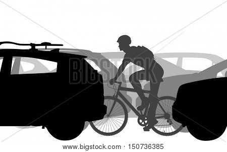 Editable vector silhouettes of a man cycling through heavy traffic