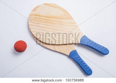 Beach Tennis, Beach Paddle Ball, Matkot. Beach Raquets And Ball, Overhead View.