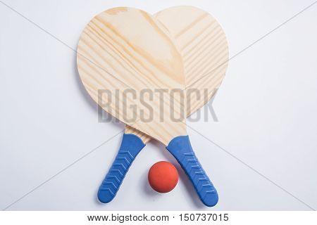 Beach Tennis, Beach Paddle Ball, Matkot. Beach Rackets And Ball, Overhead View.