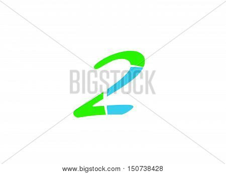 Abstract icons for number 2 logo . Vector illustration of abstract icons