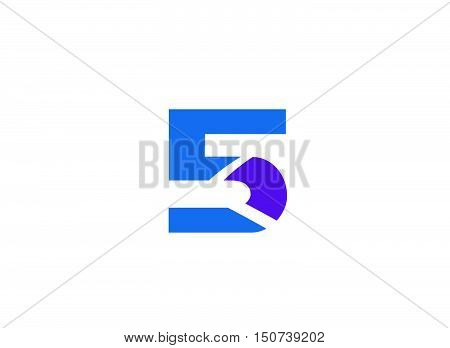 Vector sign spherical number five design vector template