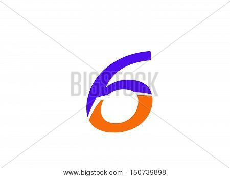 Number six 6 logo icon.Number logo icon design template elements