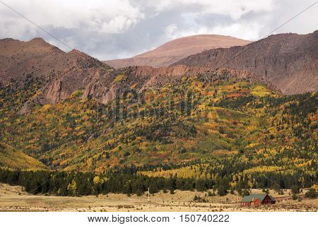 Autumn colors in Pike National Forest near Pike's Peak and Cripple Creek in Colorado