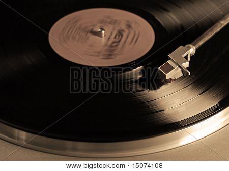 vintage vinyl player, sepia