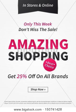 Banner Amazing Shopping vector illustration. Poster Amazing Shopping creative concept for websites retail stores advertising. Flyer layout Amazing Shopping Sale A4 size ready to print.
