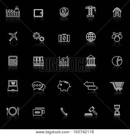 Economy line icons with reflect on black background, stock vector