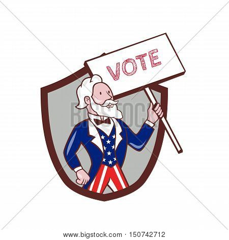 Illustration of Uncle Sam wearing american stars and stripes suit looking to the side holding placard with the word VOTE viewed from front set inside shield crest on isolated background done in cartoon style.