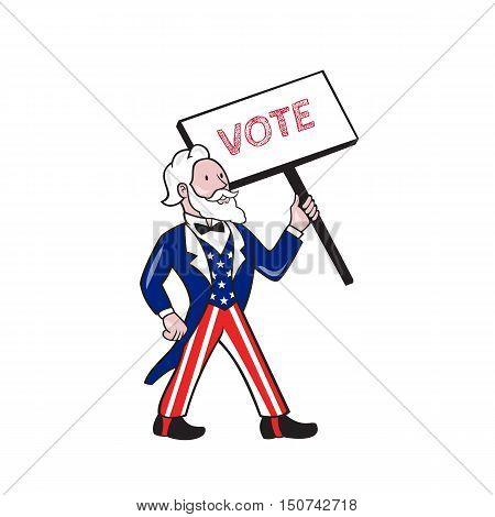 Illustration of Uncle Sam wearing american stars and stripes suit standing looking to the side holding placard with the word VOTE viewed from front set on isolated white background done in cartoon style.