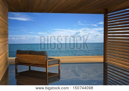 3D rendering : illustration of modern wooden sofa interior decoration at balcony outdoor wooden room style with Sundeck on Sea view for vacation and summer / 3d render outdoor living