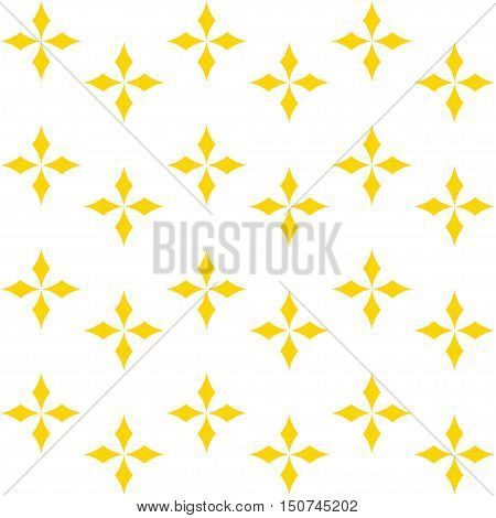 Seamless texture with yellow rhombs, geometric pattern, abstract stars