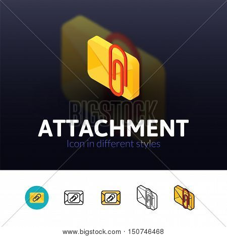 Attachment color icon, vector symbol in flat, outline and isometric style isolated on blur background