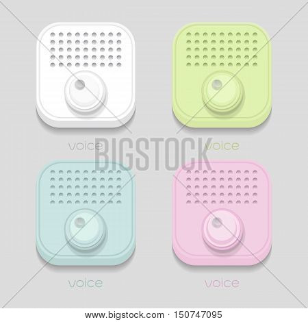 vector voice sound icon White blue green pink on gray background