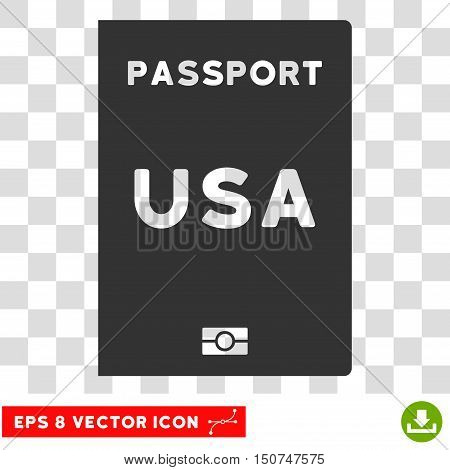 Vector American Passport EPS vector icon. Illustration style is flat iconic gray symbol on a transparent background.