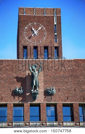Oslo City Hall (Radhus) in Oslo Norway