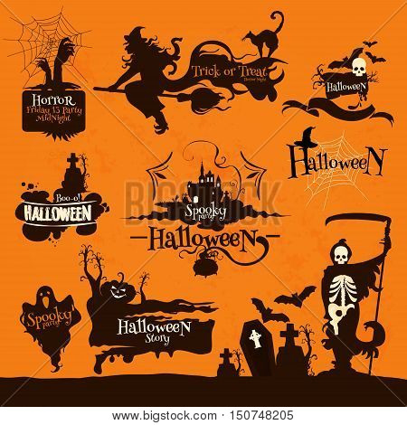 Halloween night party decoration emblems. Celebration design elements for banner, placard. Silhouette icons of witch broom, skeleton death with scythe, graveyard tombs, haunted house, creepy pumpkin
