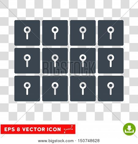 Vector Lockers EPS vector pictogram. Illustration style is flat iconic smooth blue symbol on a transparent background.