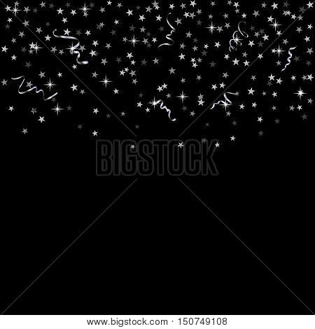 Silver star confetti celebration isolated on black background. Falling abstract decoration for party birthday celebrate anniversary or Christmas New Year. Festival decor. Vector illustration