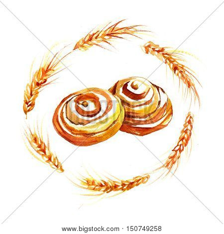 Hand Drawn Roll with cinnamon watercolor style Illustration For Food Design.