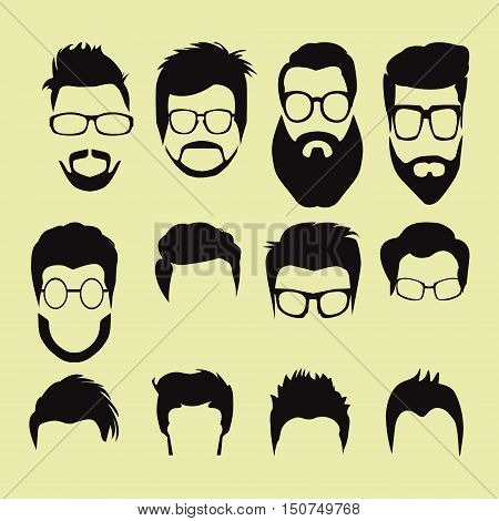 Vector Set of men cartoon hairstyles with beards and mustache. Collection of fashionable stylish hairstyles and glasses.
