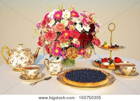 Meal tea pie Cakes teapot cups flowers a table a cloth Cream. 3D illustration