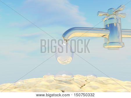 The crane; water; drops; the earth; the sky; clouds; drought; crack; a heat; metal the blue. 3D illustration