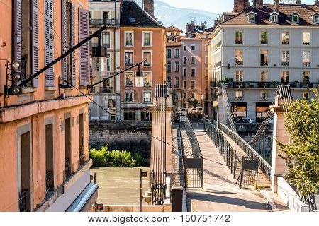 Cityscape view with river and bridge in Grenoble city on the south-east of France