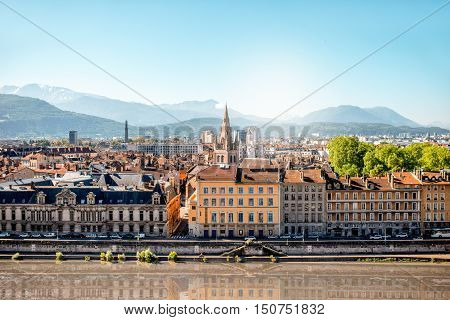 Morning cityscape view on the old town with mountains and river in Grenoble city on the south-east of France