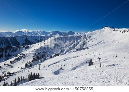 View To Alpine Mountains And Ski Slopes In Austria From Famous Kitzbuehel Ski Resort With 54 Cable C