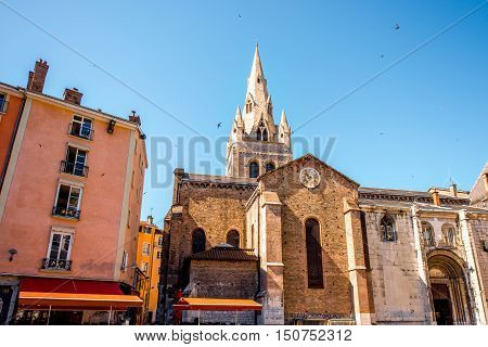 Saint Andrew church in the center of the old town in Grenoble city on the south-east of France. This tower is the main symbol of the city