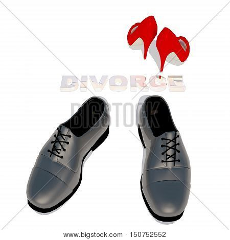 Women's shoes and men's shoe symbol photo for separation divorce and conflict. 3D illustration