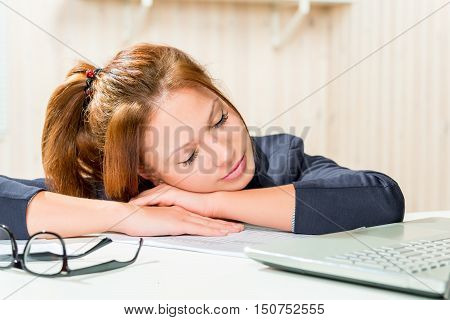 Tired Business Woman Asleep At His Desk, Close-up Portrait