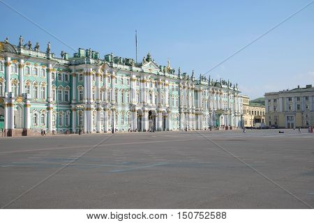 SAINT PETERSBURG - JULY 28, 2016: Winter Palace and Palace square, july morning. Saint Petersburg