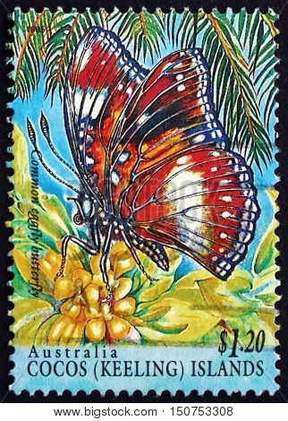 COCOS ISLANDS - CIRCA 1995: a stamp printed in Cocos Islands Australia shows Common Eggfly Butterfly Hypolimnas Bolina Insect circa 1995