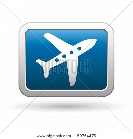 Airplane icon on the button. Vector illustration
