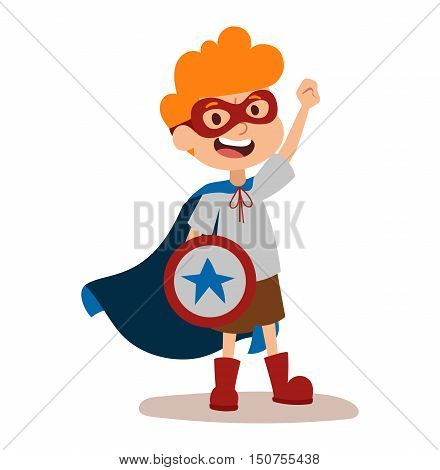 Superhero kid boy cartoon vector illustrationt. Super children illustration. Super hero kid boy play, fly success people concept vector illustration