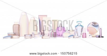 Cosmetics set on white background. 3D illustration