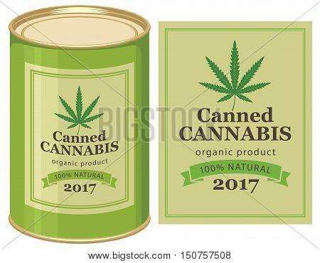 vector banner with tin can canned hemp and cannabis leaf