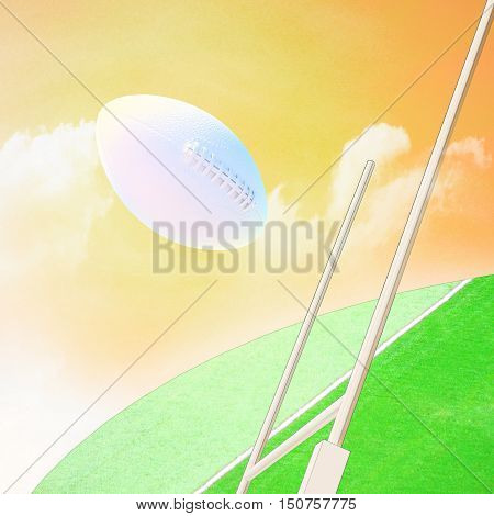 Rugby ball against rugby stadium and sky. 3D illustration