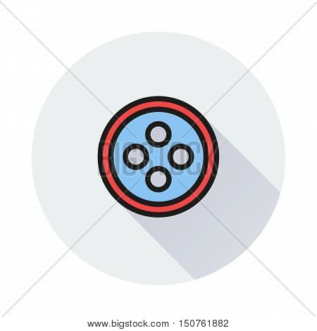 The button sewing icon on round background Created For Mobile Infographics Web Decor Print Products Applications. Icon isolated. Vector illustration