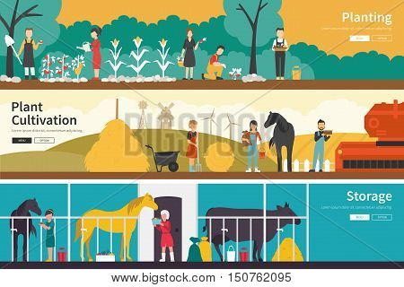 Planting Plant Cultivation Storage flat school interior outdoor concept web. Career Chart Fun
